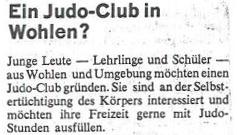 Inserat im Wohler Anzeiger im Sommer 1968