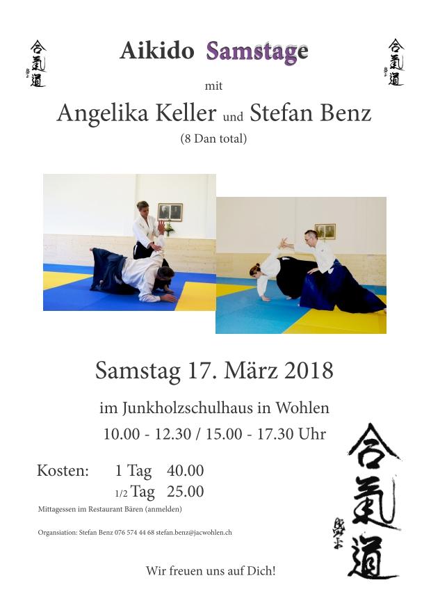 Aikido Samstage mit Angelika Kelle und Stefan Benz am 17. März 2018 in Wohlen